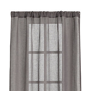 Linen Sheer Grey 52x84 Curtain Panel In Curtains