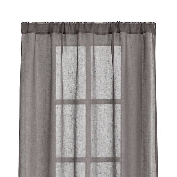 "Linen Sheer Grey 52""x108"" Curtain Panel"