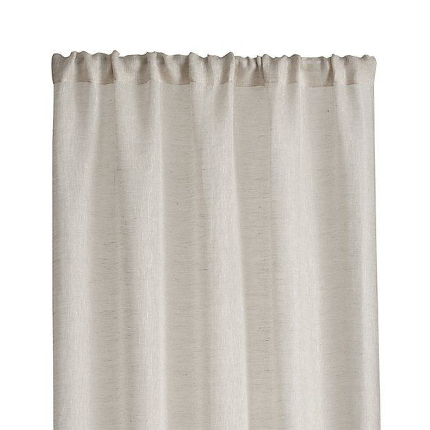 Natural linen sheer 52 x108 curtain panel crate and barrel for Linen sheer window panels