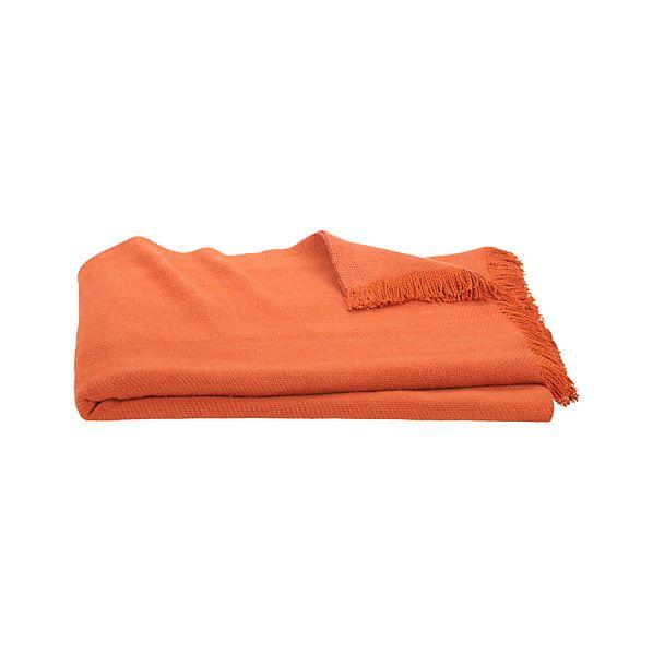 Linen Twill Orange Throw