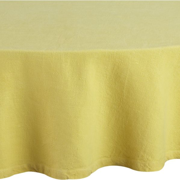 "Linen Yellow 90"" Round Tablecloth"