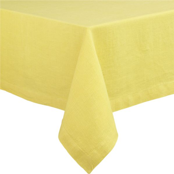 "Linen Yellow 60""x90"" Tablecloth"