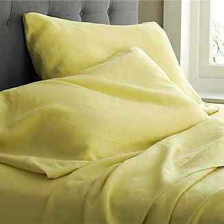 Lino Citron Linen King Fitted Sheet