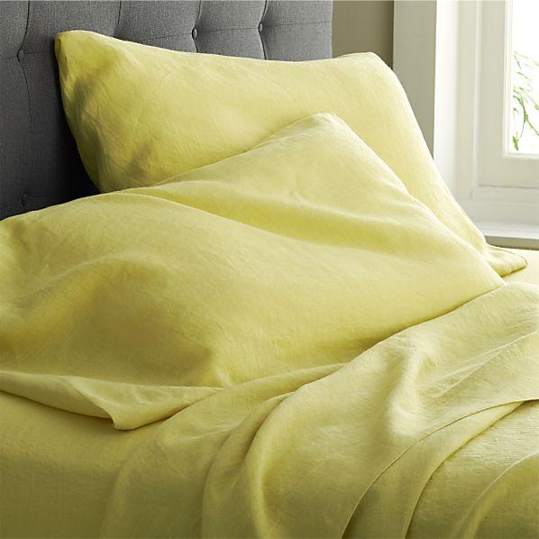 Lino Citron Linen Queen Flat Sheet