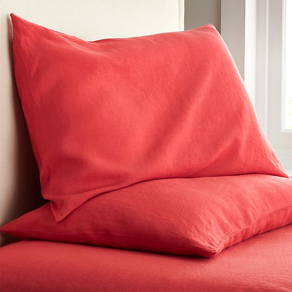 Set of 2 Lino Coral Linen Standard Pillow Cases