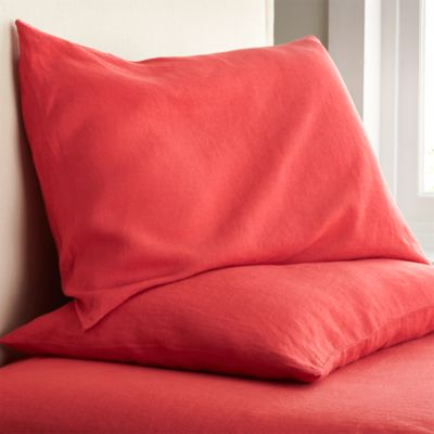 Set of 2 Lino Coral Linen Standard Pillowcases