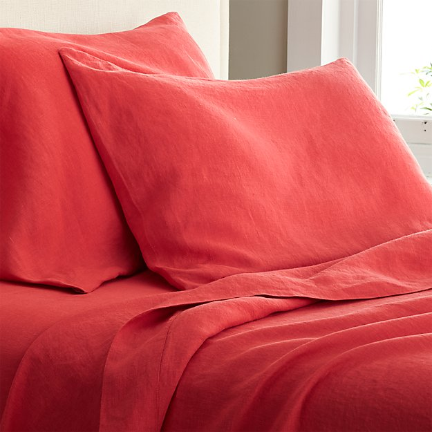 Lino Coral Linen Sheets and Pillow Cases