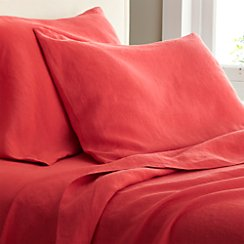 Lino Coral Linen Full Flat Sheet