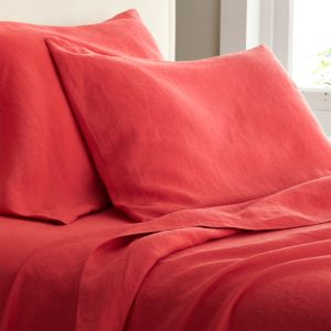 Lino Coral Linen King Fitted Sheet