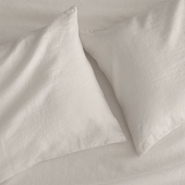 Set of 2 Lino Cream Linen Standard Pillow Cases