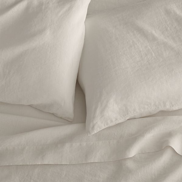 Lino Cream Linen King Flat Sheet