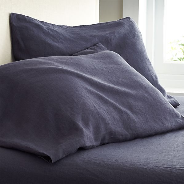 Set of 2 Lino Dark Blue Linen King Pillow Cases
