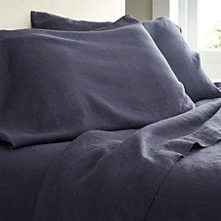 Lino Dark Blue Linen Full Fitted Sheet