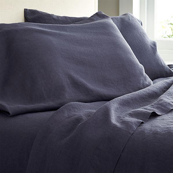 Lino Dark Blue Linen King Flat Sheet