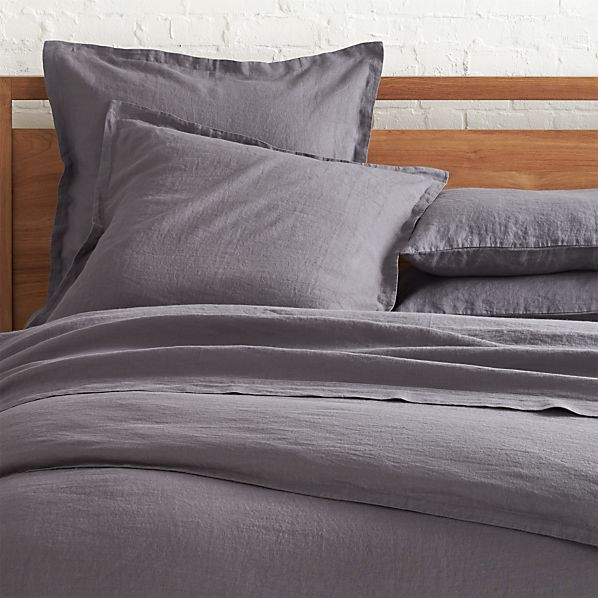 Lino Dark Grey Linen Full/Queen Duvet Cover