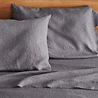Lino Dark Grey Linen Queen Flat Sheet.