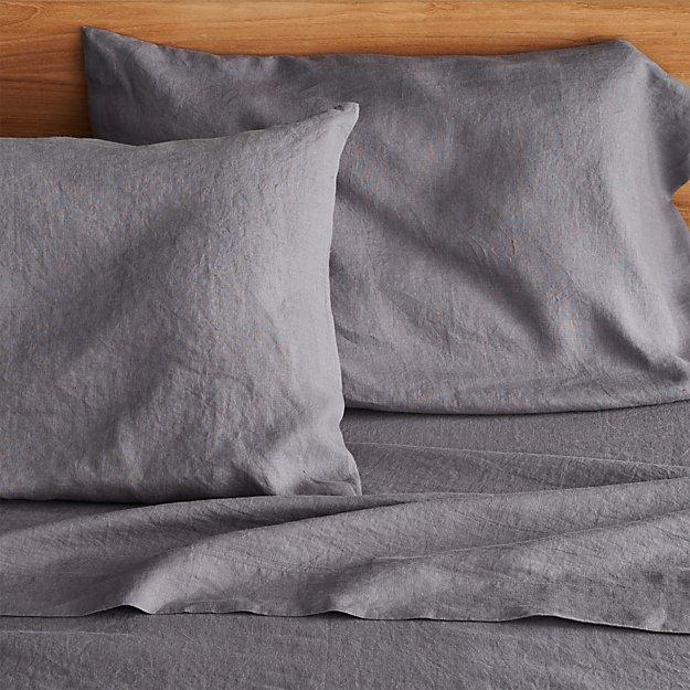 Lino Dark Grey Linen Queen Flat Sheet