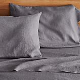 Lino Dark Grey Linen King Fitted Sheet