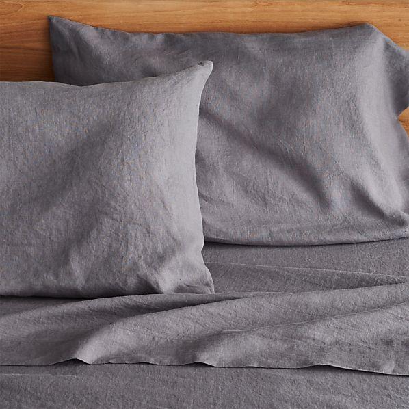 Lino Dark Grey Linen Queen Fitted Sheet
