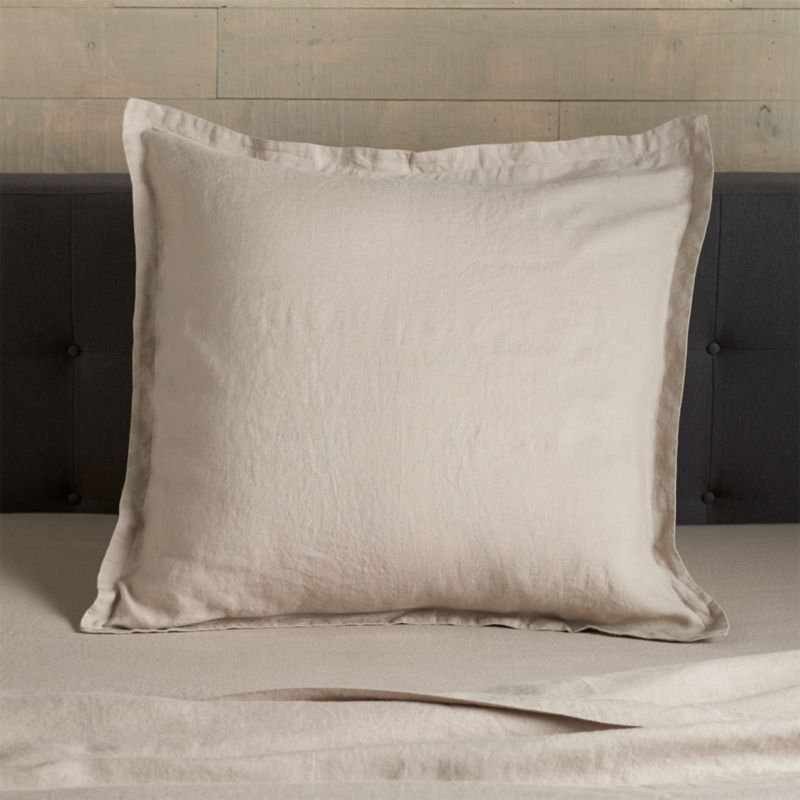 Super soft, washed bedding in solid, gorgeous hues spreads the bed in the comforting touch and relaxed, worn-in style of pure linen. One-inch, self-flange detailing and envelope closure adds casual tailoring. Pillow insert also available.<br /><br />Due to the nature of linen, you will find slight variations in color, as well as fabric irregularities that come from the spinning or weaving process. The imperfections of the long and short fibers create knots and slubs in the weaving, giving this product a natural and unique look. These irregularities should not be considered imperfections, but rather the beauty of the linen fabric, one of the oldest natural fabrics in textiles.<br /><br /><NEWTAG/><ul><li>100% linen</li><li>Envelope closure</li><li>Machine wash, tumble dry low; warm iron as needed</li><li>Made in India</li></ul>