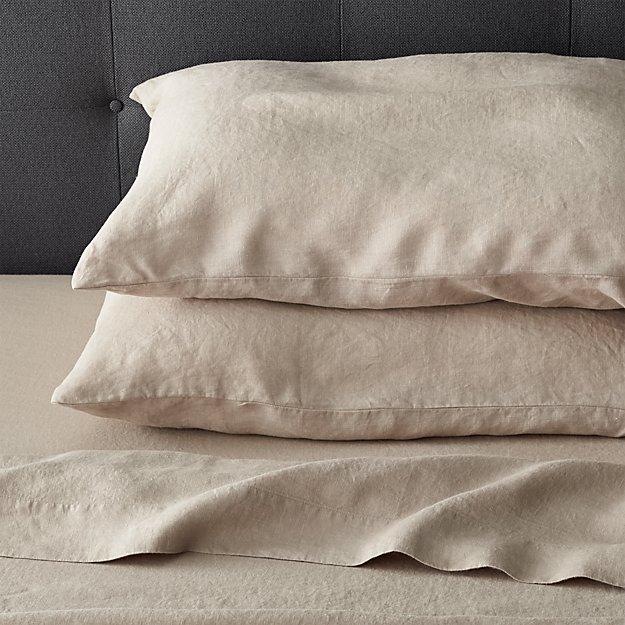 lino flax linen queen flat sheet crate and barrel. Black Bedroom Furniture Sets. Home Design Ideas