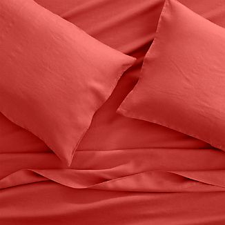 Lino II Coral Linen Queen Sheet Set