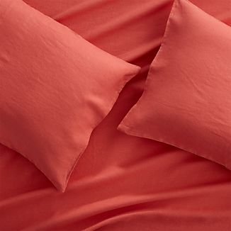 Set of 2 Lino II Coral Linen Standard Pillow Cases