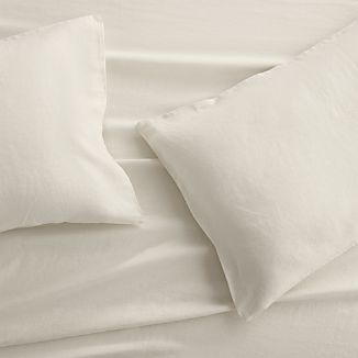 Set of 2 Lino II Cream Linen King Pillow Cases