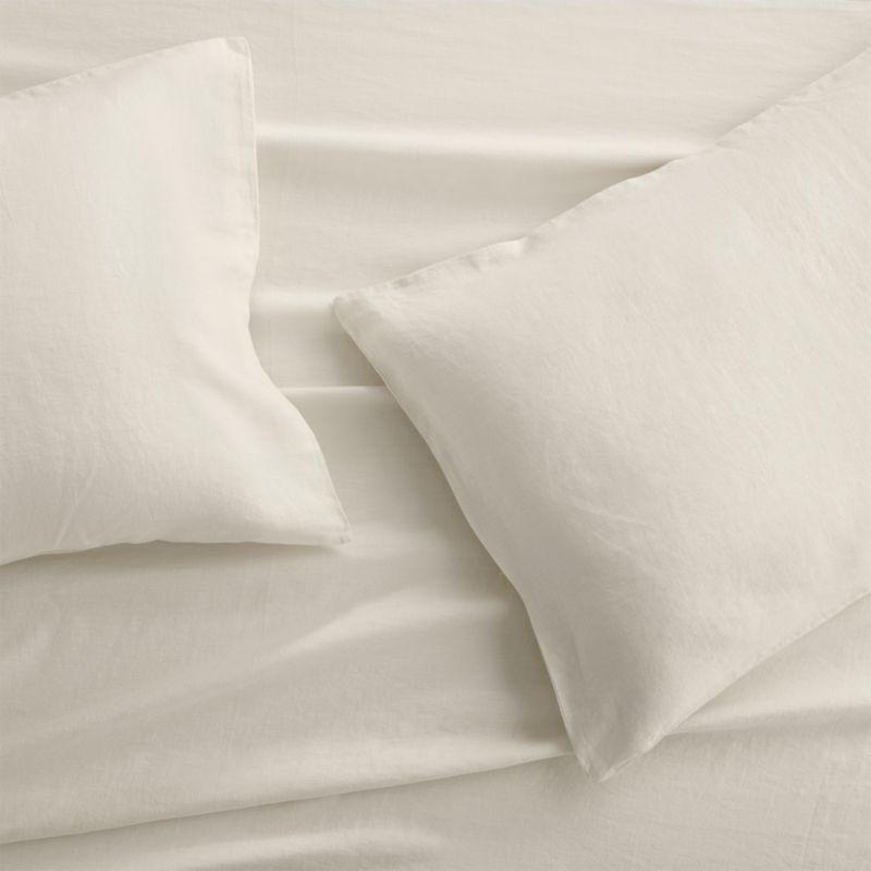 Set of 2 Lino II Cream Linen Standard Pillow Cases