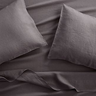 Lino II Dark Grey Linen Queen Sheet Set