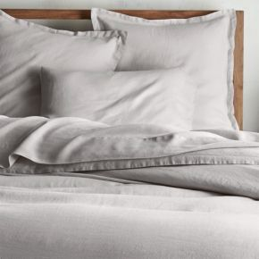 Lino II Light Grey Linen Full/Queen Duvet Cover