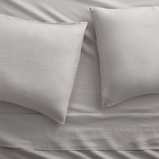 Lino II Light Grey Linen Full Sheet Set