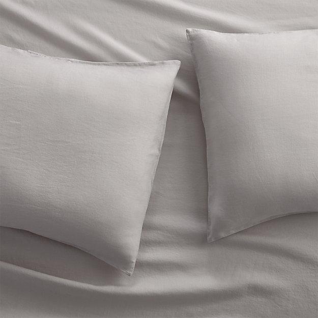 Set of 2 Lino II Light Grey Linen King Pillow Cases