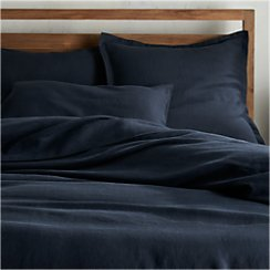 Lino II Midnight Blue Linen Full/Queen Duvet Cover