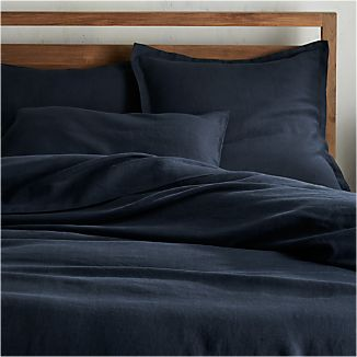 Lino II Midnight Blue Linen Duvet Covers and Pillow Shams