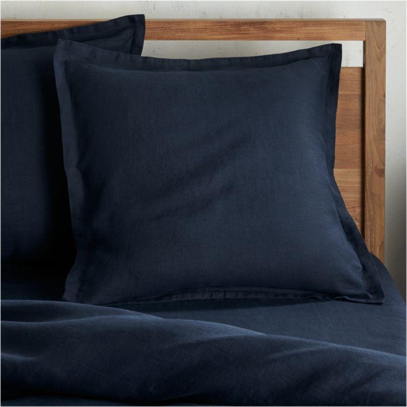 Lino II Midnight Blue Linen Euro Sham