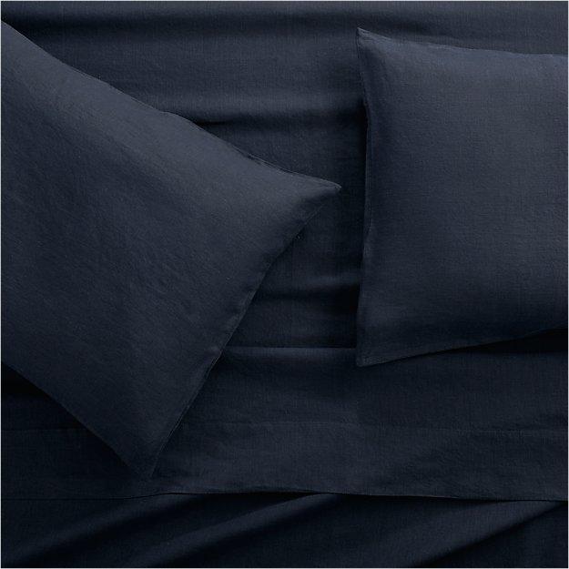 Lino II Midnight Blue Linen Queen Sheet Set