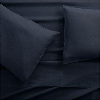 Lino II Midnight Blue Linen Queen Sheet Set