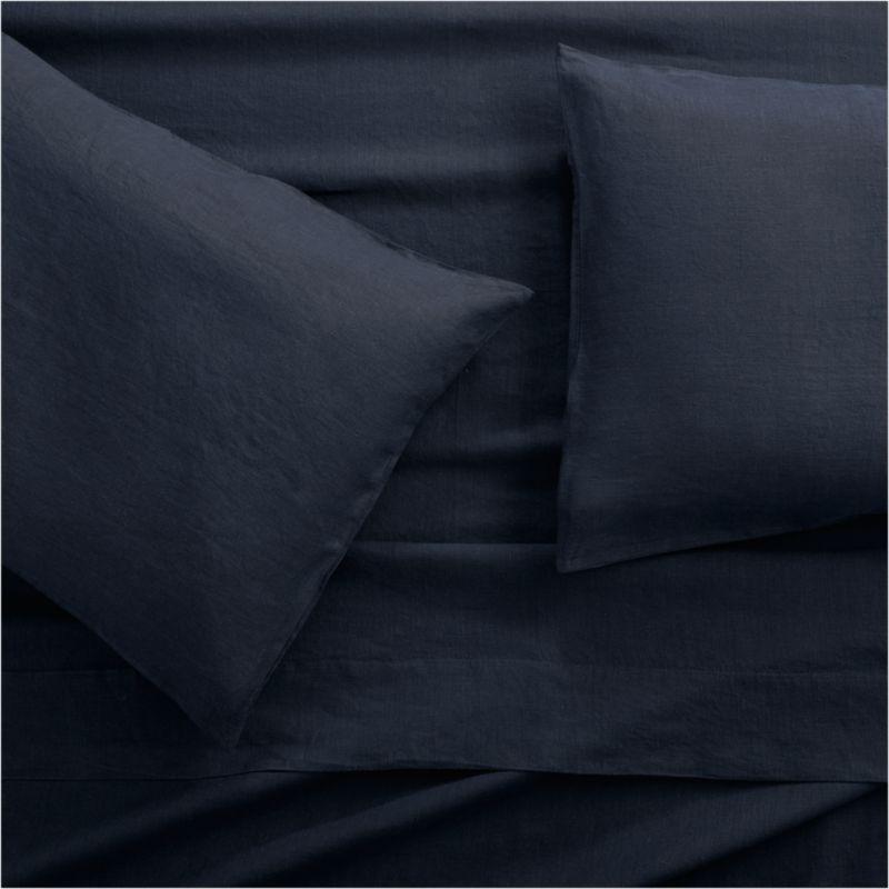 Lino II Midnight Blue Linen Full Sheet Set