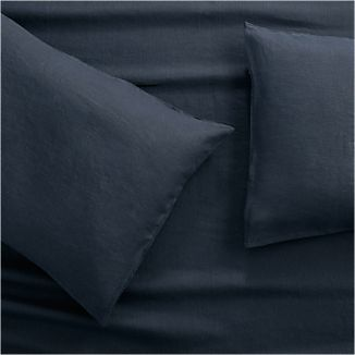 Lino II Midnight Blue Linen Standard Pillow Cases