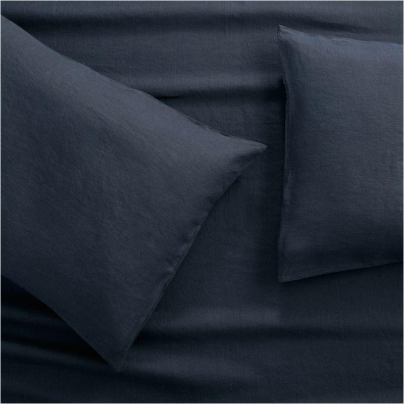 Lino II Midnight Blue Linen Standard Pillow Cases