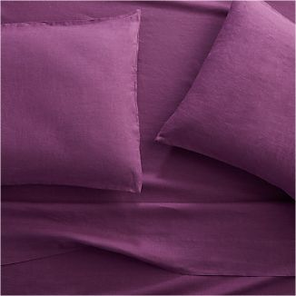 Lino II Purple Linen Queen Sheet Set