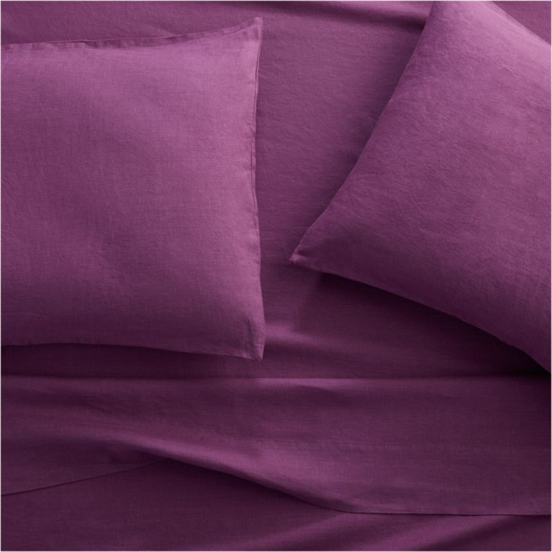 Set of 2 Lino II Purple Linen King Pillow Cases