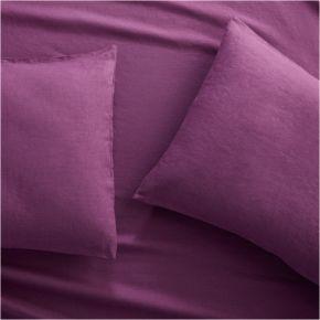 Set of 2 Lino II Purple Linen Standard Pillow Cases