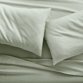 Lino II Sage Green Linen Sheets and Pillow Cases