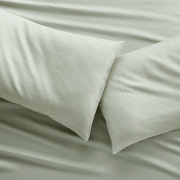Set of two Lino II Sage Green Linen Standard Pillow Cases