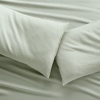 Set of two Lino II Sage Green Linen King Pillow Cases
