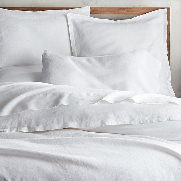 Lino II White Linen Full/Queen Duvet Cover