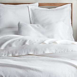 Lino II White Linen Duvet Covers and Pillow Shams