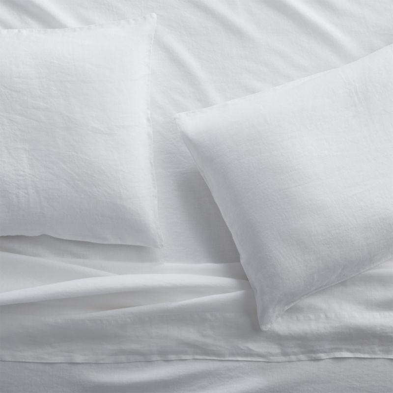 Lino II White Linen Queen Sheet Set